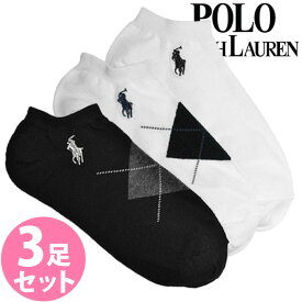【送料無料】POLO RALPH LAUREN ポロ ラルフローレン レディース 靴下 アンクルソックス 3足セット[7472PKBKWH]くるぶし ショート 大きいサイズ ブランド