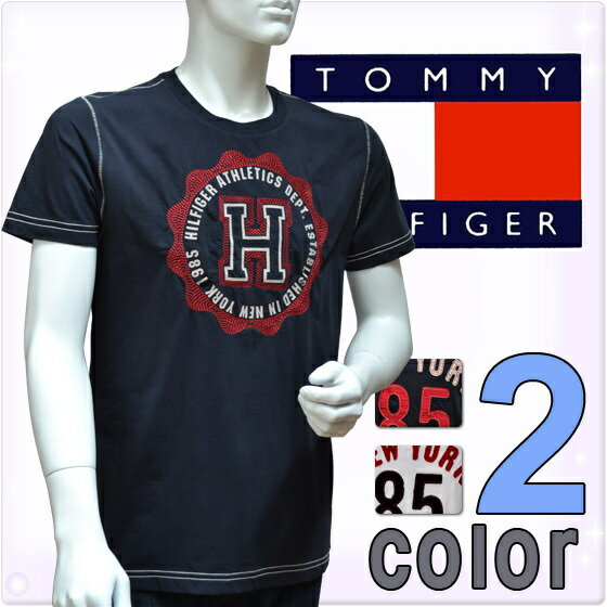 TOMMY HILFIGER トミーヒルフィガー メンズ 半袖Tシャツ(2色展開)[紺 白 ネイビー ホワイト][S M L XL XXL][半袖 Tシャツ クルーネックTシャツ トップス][0886216385]大きいサイズ ブランド 【送料無料】