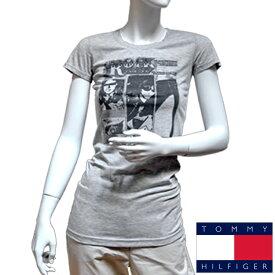 """TOMMY HILFIGER DENIM トミーヒルフィガー デニム レディース ロック Tシャツ 半袖Tシャツ トップス ライトグレー ラーモンズ バンドTシャツ """"マーキーラモーンコラボ"""" [XS/S/M/L/XL][ヨーロッパ仕様][1656216308]大きいサイズ ブランド[送料無料]"""