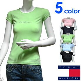 TOMMY HILFIGER トミーヒルフィガー レディース Tシャツ ラインストーン 5色展開[ピンク 紺 緑][XS/S/M/L/XL][半袖 ショートスリーブ ティーシャツ][ヨーロッパ仕様][1M51524461]大きいサイズ ブランド[送料無料]