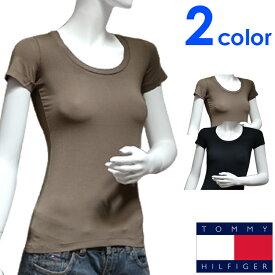 TOMMY HILFIGER トミーヒルフィガー レディース Tシャツ 2色展開 ラウンドネック[黒 ベージュ][XS/S/M/L/XL][半袖Tシャツ ティーシャツ][ヨーロッパ仕様][1M51524467]大きいサイズ ブランド[送料無料]