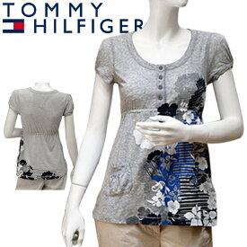 TOMMY HILFIGER DENIM トミーヒルフィガー デニム レディース チュニック 花柄 ライトグレー 灰色 [XS S M L XL][半袖Tシャツ ショートスリーブ カットソー][ヨーロッパ仕様][1653520489]大きいサイズ ブランド[5,400円以上で送料無料]