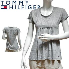 TOMMY HILFIGER DENIM トミーヒルフィガー デニム レディースチュニック グレー シャーリング[XS/S/M][半袖Tシャツ ショートスリーブ][ヨーロッパ仕様][1653520495]大きいサイズ ブランド[5,400円以上で送料無料]