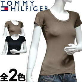 TOMMY HILFIGER トミーヒルフィガー レディース Tシャツ 2色展開 ラウンドネック[黒 ベージュ][XS/S/M/L/XL][半袖Tシャツ ティーシャツ][ヨーロッパ仕様][1M51524467]大きいサイズ ブランド[5,400円以上で送料無料]
