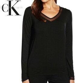 Calvin Klein カルバンクライン レディース スリープウエア マイクロモーダル Vネック メッシュ ネックライン 長袖 tシャツ ブラック インナー パジャマ CK M L XL おしゃれ ブランド 大きいサイズ [5,500円以上で送料無料] 【あす楽】[qs5306e]