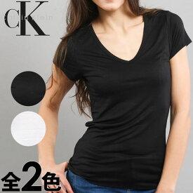 Calvin Klein カルバンクライン レディース スリープウエア マイクロモーダル Vネック 半袖 tシャツ ブラック ホワイト インナー CK XS S M L おしゃれ ブランド 大きいサイズ [5,500円以上で送料無料] 【あす楽】[qs5490e]