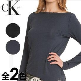 Calvin Klein カルバンクライン レディース スリープウエア マイクロモーダル ボードネック 長袖 tシャツ メッシュ ネックライン ブラック ネイビー インナー パジャマ CK L XL おしゃれ ブランド 大きいサイズ [5,500円以上で送料無料] 【あす楽】[s2634e]