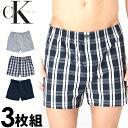 Calvin Klein カルバンクライン メンズ トランクス 3枚セット ネイビー チェック ストライプ CK ボクサーパンツ S M L…