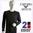 EMPORIO ARMANI[エンポリオアルマーニ]メンズ クルーネック ブランドロゴ 長袖Tシャツ イーグルマーク(2色展開)[黒 …