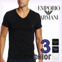 EMPORIO ARMANI エンポリオアルマーニ メンズ tシャツ Vネック ストレッチ コットン 半袖Tシャツ 3色展開[ブラック/ホワイト/ネイビー][黒 白 紺][下着 肌着 アンダーウエア