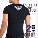 EMPORIO ARMANI エンポリオ アルマーニ メンズ Tシャツ Vネック イーグルプリント ストレッチ コットン 半袖 tシャツ …