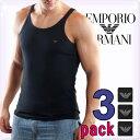 EMPORIO ARMANI エンポリオアルマーニ メンズ タンクトップ 3枚パック ブラック[黒 下着 肌着 アンダーウエア アルマーニ 下着 ルームウェア ...