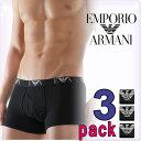 EMPORIO ARMANI エンポリオアルマーニ メンズ 3パック コットン ボクサーブリーフ ブラック/黒 ボクサーパンツ[トランクス 下着 肌着 パンツ アルマーニアンダーウェア アルマーニ 下