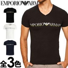 EMPORIO ARMANI エンポリオアルマーニ メンズ Vネック スリムフィット ロゴ プリント 半袖 Tシャツ イーグルマーク ブラック ホワイト ネイビー S M L XL おしゃれ ブランド 大きいサイズ [5,500円以上で送料無料] [あす楽][1108109a516]