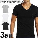 EMPORIO ARMANI エンポリオアルマーニ メンズ tシャツ 3枚パック [白 グレー 黒] Vネック Tシャツ ピュアコットン [tシャツ ブラック グレー ホワイト下着 肌着 アンダーウエ