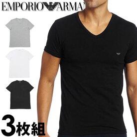 EMPORIO ARMANI エンポリオアルマーニ メンズ tシャツ 3枚パック [白 グレー 黒] Vネック Tシャツ ピュアコットン [tシャツ ブラック グレー ホワイト下着 肌着 アンダーウエア ティーシャツ ルームウェア][110856cc72209810]