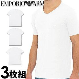 EMPORIO ARMANI エンポリオアルマーニ メンズ tシャツ 3枚パック Vネック Tシャツ ピュアコットン 白[エンポリオ アルマーニtシャツ ホワイト 下着 肌着 アンダーウエア ティーシャツ ルームウェア コットンTシャツ][110856-CC722][5,500円以上で送料無料]