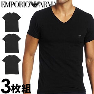 EMPORIO ARMANI エンポリオアルマーニ メンズ tシャツ 3枚パック Vネック Tシャツ ピュアコットン 黒[エンポリオ アルマーニtシャツ ブラック 下着 肌着 アンダーウエア ティーシャツ ルームウェ