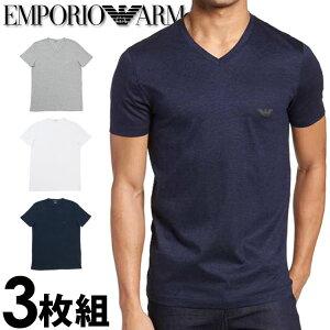 EMPORIO ARMANI エンポリオアルマーニ メンズ tシャツ 3枚パック Vネック Tシャツ 3色3枚セット ピュアコットン グレー、白、紺 tシャツ ブラック 下着 肌着 アンダーウエア ティーシャツ ルームウ