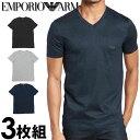 EMPORIO ARMANI エンポリオアルマーニ メンズ tシャツ 3枚パック Vネック Tシャツ ピュアコットン グレー、黒、紺[エ…