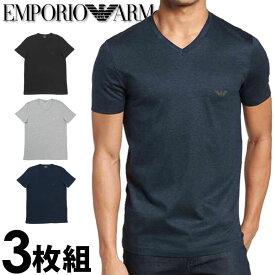 EMPORIO ARMANI エンポリオアルマーニ メンズ tシャツ 3枚パック Vネック Tシャツ ピュアコットン グレー、黒、紺[エンポリオ アルマーニtシャツ ブラック 下着 肌着 アンダーウエア ティーシャツ ルームウェア][110856cc72294235][5,500円以上で送料無料]