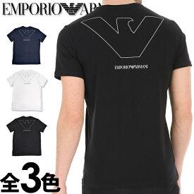 """EMPORIO ARMANI エンポリオアルマーニ メンズ Vネック ルーズフィット ロゴ プリント 半袖 Tシャツ """"PURE ORGANIC COTTON"""" イーグルマーク ネイビー ホワイト ブラック おしゃれ ブランド 大きいサイズ [5,500円以上で送料無料] [あす楽][1110280p578]"""