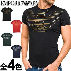 EMPORIO ARMANI[エンポリオアルマーニ]メンズ クルーネック スリムフィット ロゴ プリント 半袖 Tシャツ イーグルマーク ブラック カーキ ネイビー レッドS M L XL おしゃれ ブランド 大きいサイズ [5,500円以上で送料無料] [あす楽] [1110359a595]