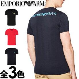 """EMPORIO ARMANI エンポリオアルマーニ メンズ Vネック レギュラーフィット ロゴ バックプリント 半袖 Tシャツ""""3D LOGO"""" イーグルマーク ブラック ネイビー レッド おしゃれ ブランド 大きいサイズ [5,500円以上で送料無料] [あす楽][1115560p525]"""