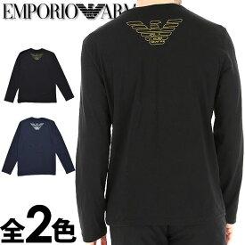 EMPORIO ARMANI エンポリオアルマーニ メンズ クルーネック レギュラーフィット 長袖Tシャツ ブラック ネイビー イーグルマーク ロンt S M L XL おしゃれ ブランド 大きいサイズ [5,500円以上で送料無料] [あす楽][1116539a595]