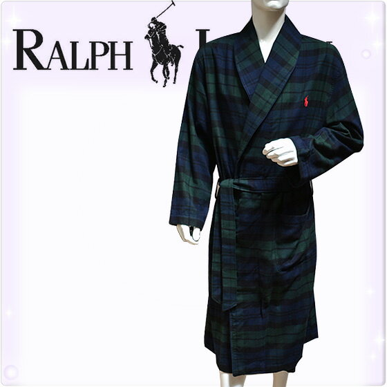 POLO RALPH LAUREN ポロ ラルフローレン コットン バスローブ メンズ ポロプレイヤー タータンチェック[ネイビー 紺 チェック柄][S/M、L/XL][ポロ・ラルフローレン ラルフローレン ナイトガウン 部屋着 ナイトウエア][送料無料][P660]大きいサイズ ブランド