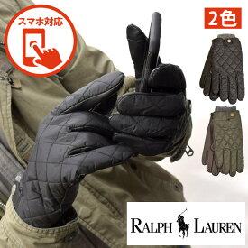 POLO RALPH LAUREN ポロ ラルフローレン メンズ スマホ対応 キルティング 手袋 ブラック オリーブ グローブ M L サイズ おしゃれ ブランド 大きい [5,500円以上で送料無料] 【あす楽】 [pg0047]