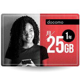 CALENDAR SIMカード 月/25GB 1年プラン[docomo長期プリペイドSIM 月/所定容量プラン]