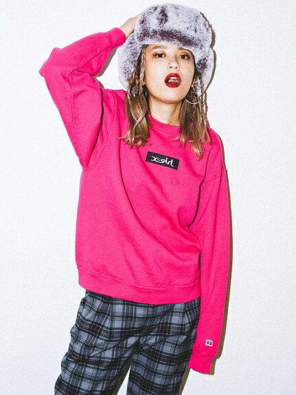 X-girl(エックスガール)【X-GIRL×RUSSELL】BOX LOGO CREW SWEAT TOP