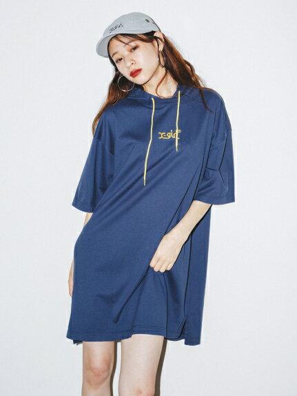 X-girl(エックスガール)【WEB限定】HOODED S/S TEE DRESS
