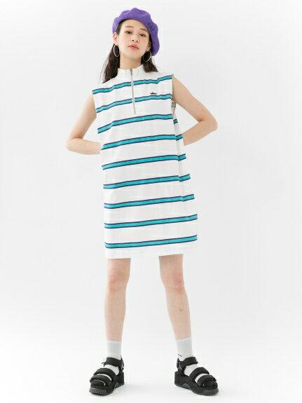 X-girl(エックスガール)STRIPED STAND NECK HALF ZIP DRESS