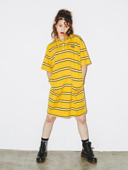 X-girl(エックスガール)STRIPE HOODIE DRESS