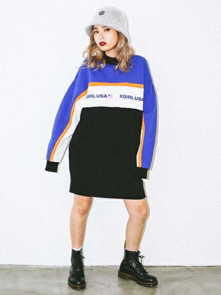 X-girl(エックスガール)TRI-COLOR SWEAT DRESS