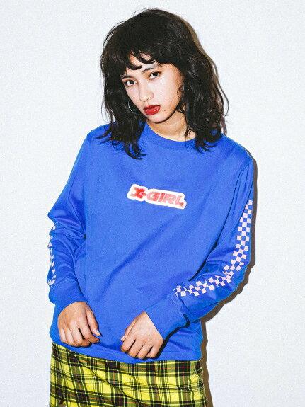 X-girl(エックスガール)STICKER LOGO L/S REGULAR TEE
