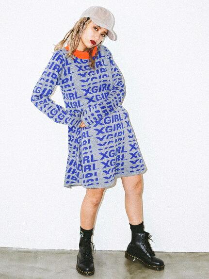 X-girl(エックスガール)LOGO JACQUARD KNIT MINI DRESS