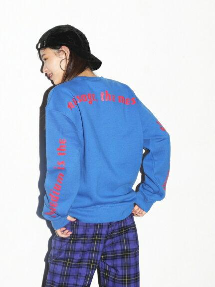 X-girl(エックスガール)BACK SLEEVE PRINT CREW SWEAT