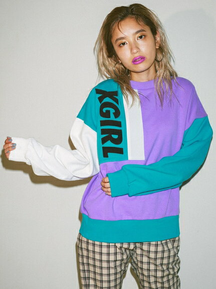 X-girl(エックスガール)MULTI COLOR SWEAT TOP