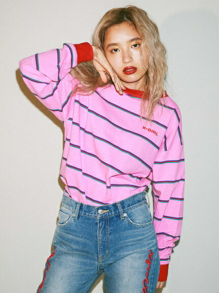 X-girl(エックスガール)STRIPED L/S TEE