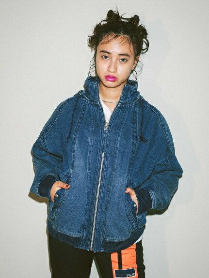X-girl(エックスガール)HOODED DENIM JACKET