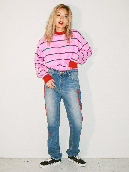 X-girl(エックスガール)SIDE LOGO STRAIGHT PANTS
