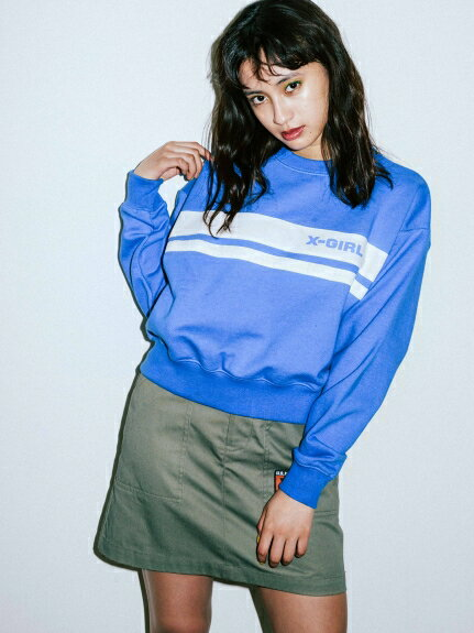 X-girl(エックスガール)PIT CREW SHORT SWEAT TOP