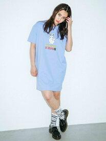 X-girl(エックスガール)X-GIRL X KOZIK SMOKING BUNNY S/S TEE DRESS