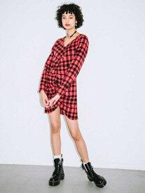 X-girl(エックスガール)SHAGGY PLAID SHIRRED DRESS