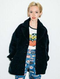 【公式】X-girl(エックスガール)SHAGGY PLAID COCOON COAT