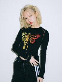【公式】X-girl エックスガール X-girl × HYSTERIC GLAMOUR ヒステリックグラマー BUTTERFLY BABY L/S TEE ロンT 長袖 レディース トップス ロゴ コラボ