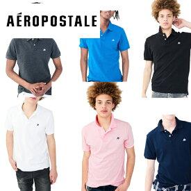 [再入荷]Aeropostale エアロポステール メンズ半袖ポロシャツ 無地 鹿の子POLO インポート黒グレー白【あす楽対応】【楽ギフ_包装】